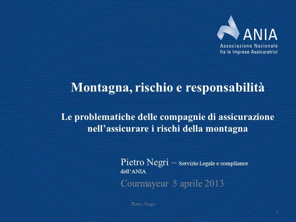 Montagna, rischio e responsabilità Le problematiche delle compagnie di assicurazione nellassicurare i rischi della montagna Pietro Negri – Servizio Le