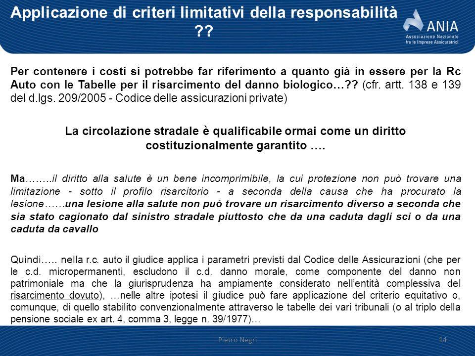 Applicazione di criteri limitativi della responsabilità ?? Per contenere i costi si potrebbe far riferimento a quanto già in essere per la Rc Auto con