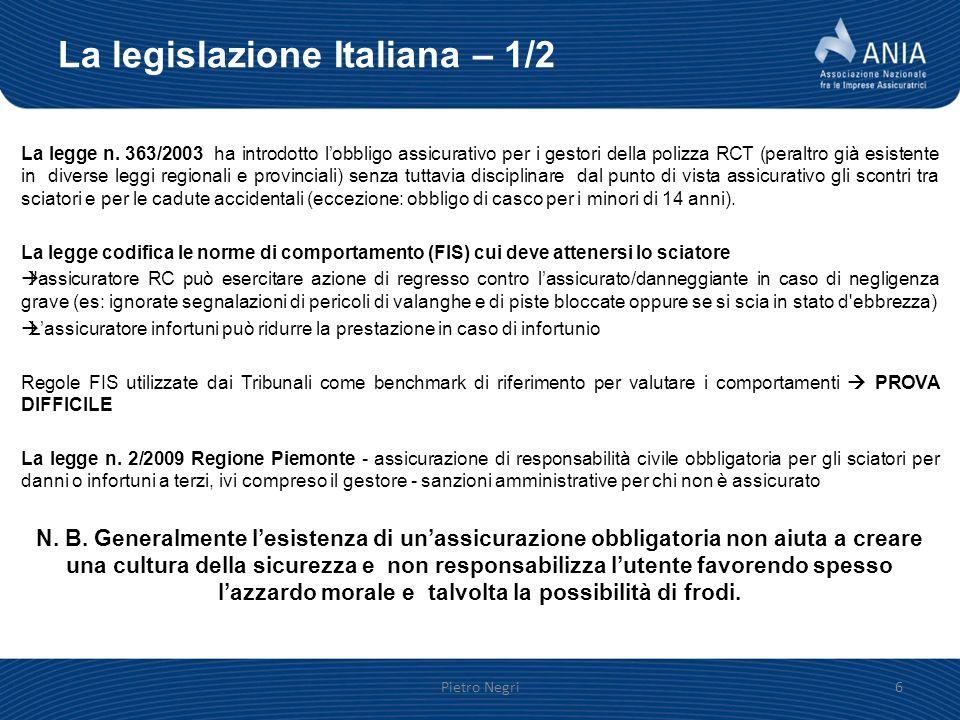 La legislazione Italiana – 1/2 La legge n. 363/2003 ha introdotto lobbligo assicurativo per i gestori della polizza RCT (peraltro già esistente in div