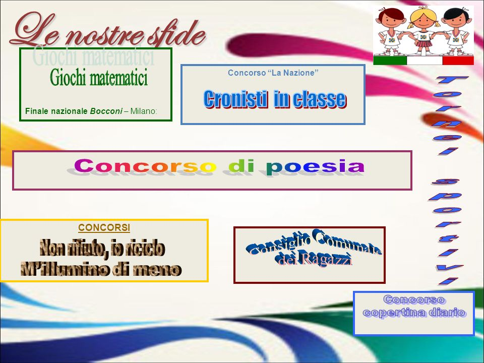 Le nostre sfide Concorso La Nazione CONCORSI Finale nazionale Bocconi – Milano: