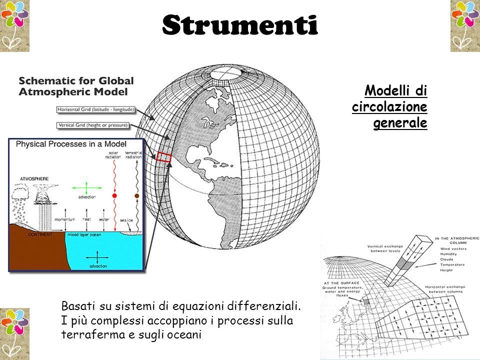 Strumenti Modelli di circolazione generale Basati su sistemi di equazioni differenziali.