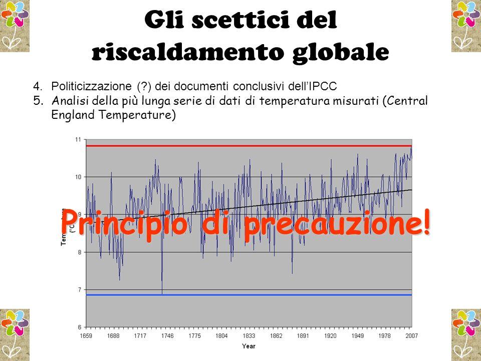 Gli scettici del riscaldamento globale 4.Politicizzazione (?) dei documenti conclusivi dellIPCC 5.Analisi della più lunga serie di dati di temperatura misurati (Central England Temperature) Principio di precauzione!