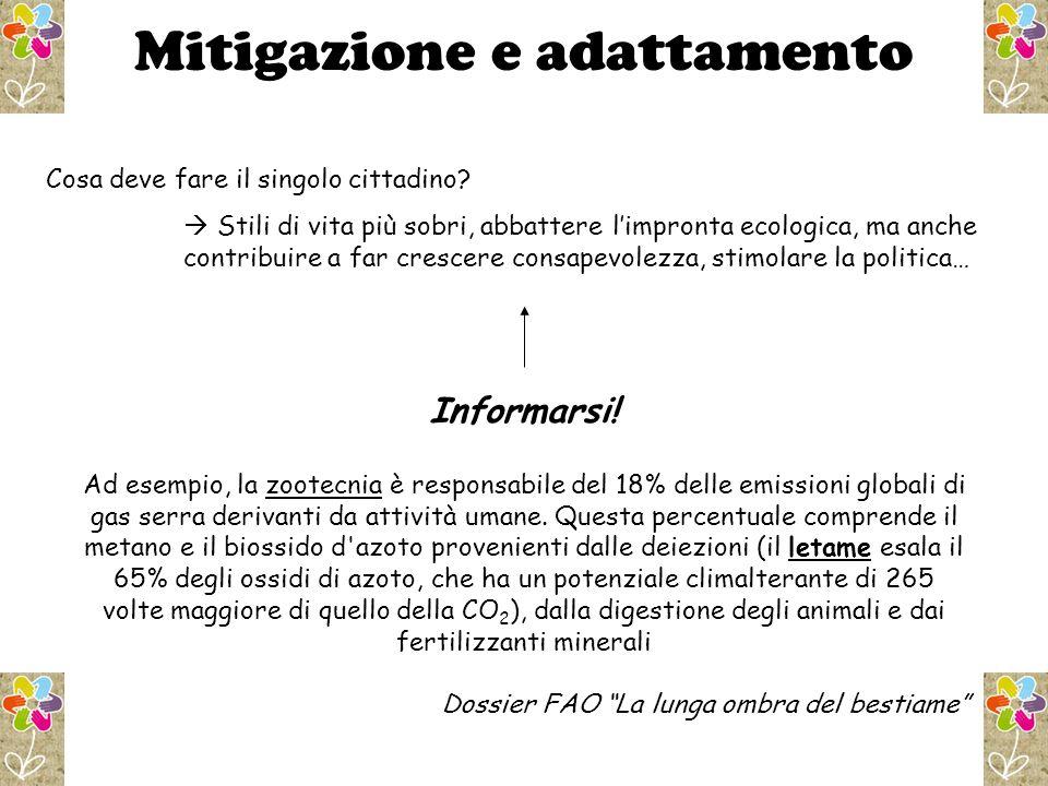 Mitigazione e adattamento Cosa deve fare il singolo cittadino.