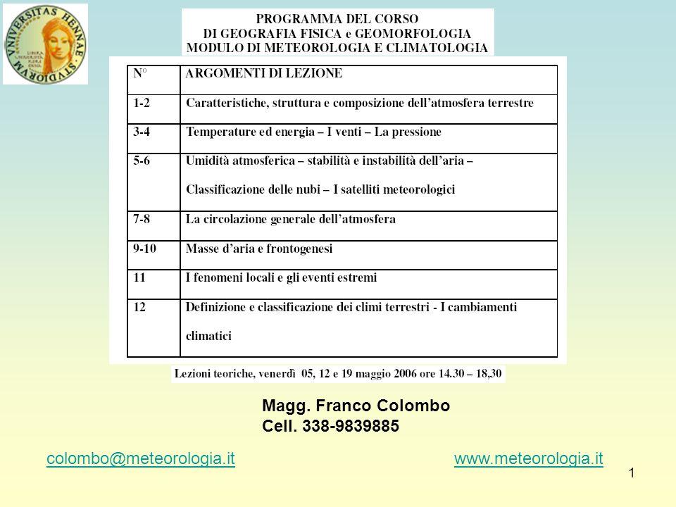 1 colombo@meteorologia.itcolombo@meteorologia.it www.meteorologia.itwww.meteorologia.it Magg. Franco Colombo Cell. 338-9839885
