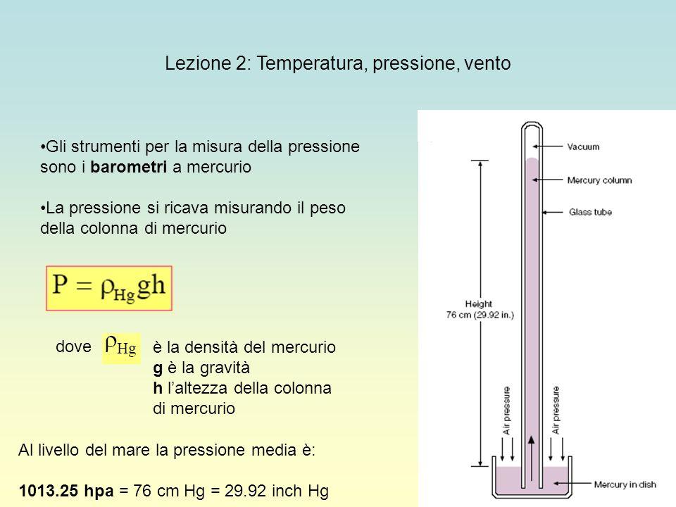 22 Lezione 2: Temperatura, pressione, vento Gli strumenti per la misura della pressione sono i barometri a mercurio La pressione si ricava misurando i