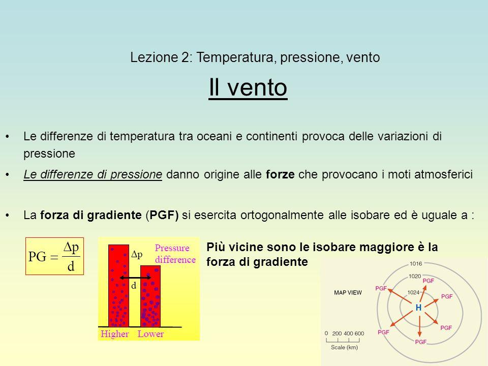 28 Lezione 2: Temperatura, pressione, vento Il vento Le differenze di temperatura tra oceani e continenti provoca delle variazioni di pressione Le dif