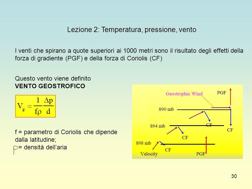 30 Lezione 2: Temperatura, pressione, vento I venti che spirano a quote superiori ai 1000 metri sono il risultato degli effetti della forza di gradien