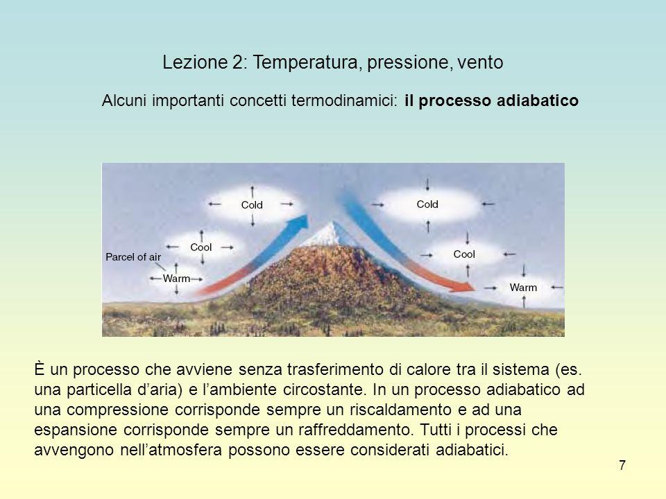 7 Lezione 2: Temperatura, pressione, vento Alcuni importanti concetti termodinamici: il processo adiabatico È un processo che avviene senza trasferime