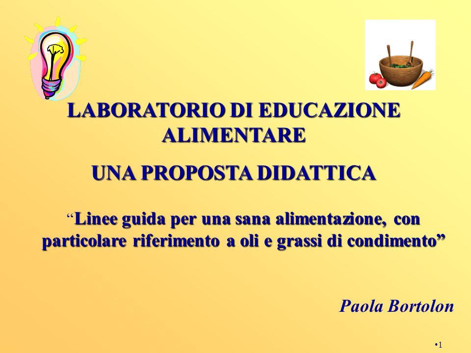 1 Linee guida per una sana alimentazione, con particolare riferimento a oli e grassi di condimento Paola Bortolon LABORATORIO DI EDUCAZIONE ALIMENTARE