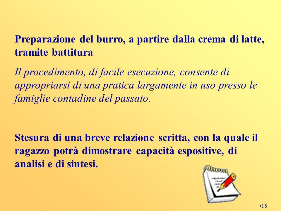 18 Preparazione del burro, a partire dalla crema di latte, tramite battitura Il procedimento, di facile esecuzione, consente di appropriarsi di una pr