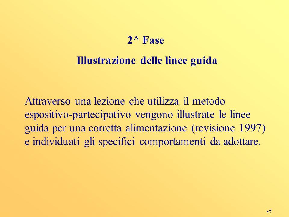 7 2^ Fase Illustrazione delle linee guida Attraverso una lezione che utilizza il metodo espositivo-partecipativo vengono illustrate le linee guida per