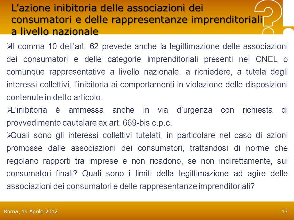 Roma, 19 Aprile 201213 Lazione inibitoria delle associazioni dei consumatori e delle rappresentanze imprenditoriali a livello nazionale Il comma 10 dellart.