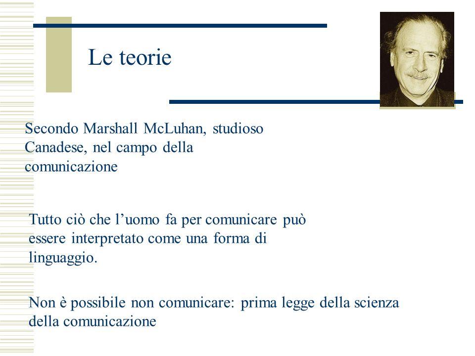 Secondo Marshall McLuhan, studioso Canadese, nel campo della comunicazione Tutto ciò che luomo fa per comunicare può essere interpretato come una forma di linguaggio.