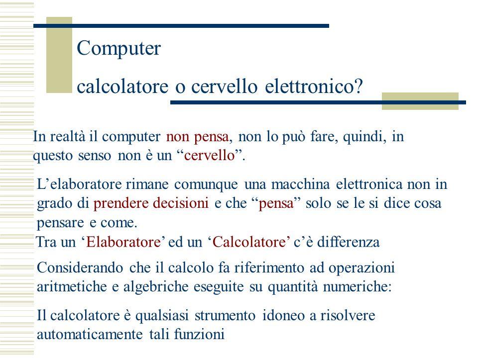 Computer calcolatore o cervello elettronico.