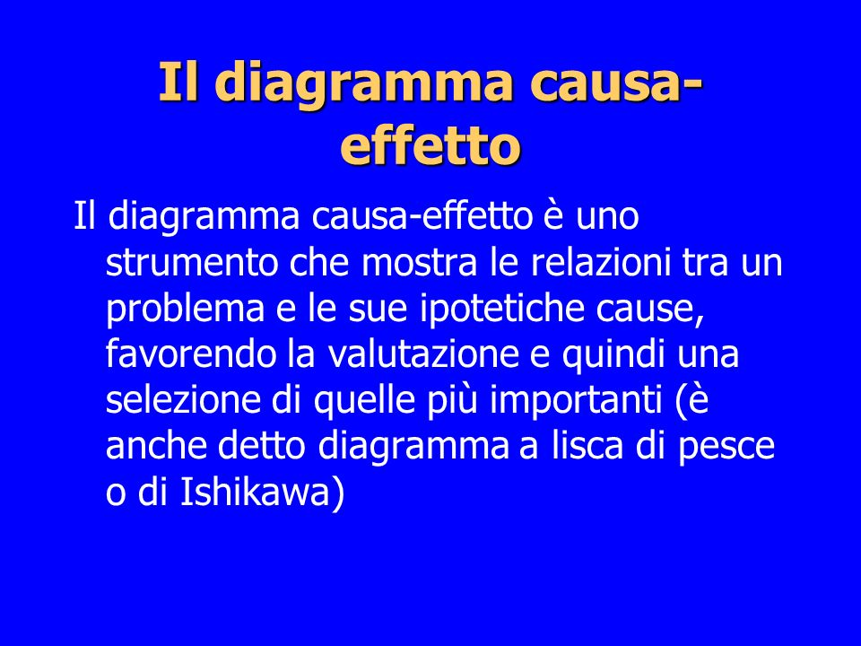 Il diagramma causa- effetto Il diagramma causa-effetto è uno strumento che mostra le relazioni tra un problema e le sue ipotetiche cause, favorendo la