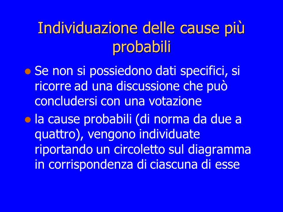 Individuazione delle cause più probabili Se non si possiedono dati specifici, si ricorre ad una discussione che può concludersi con una votazione la c