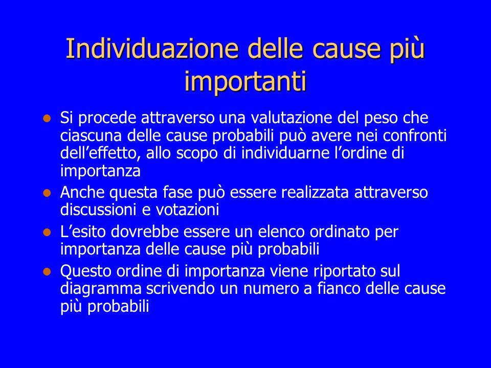 Individuazione delle cause più importanti Si procede attraverso una valutazione del peso che ciascuna delle cause probabili può avere nei confronti de