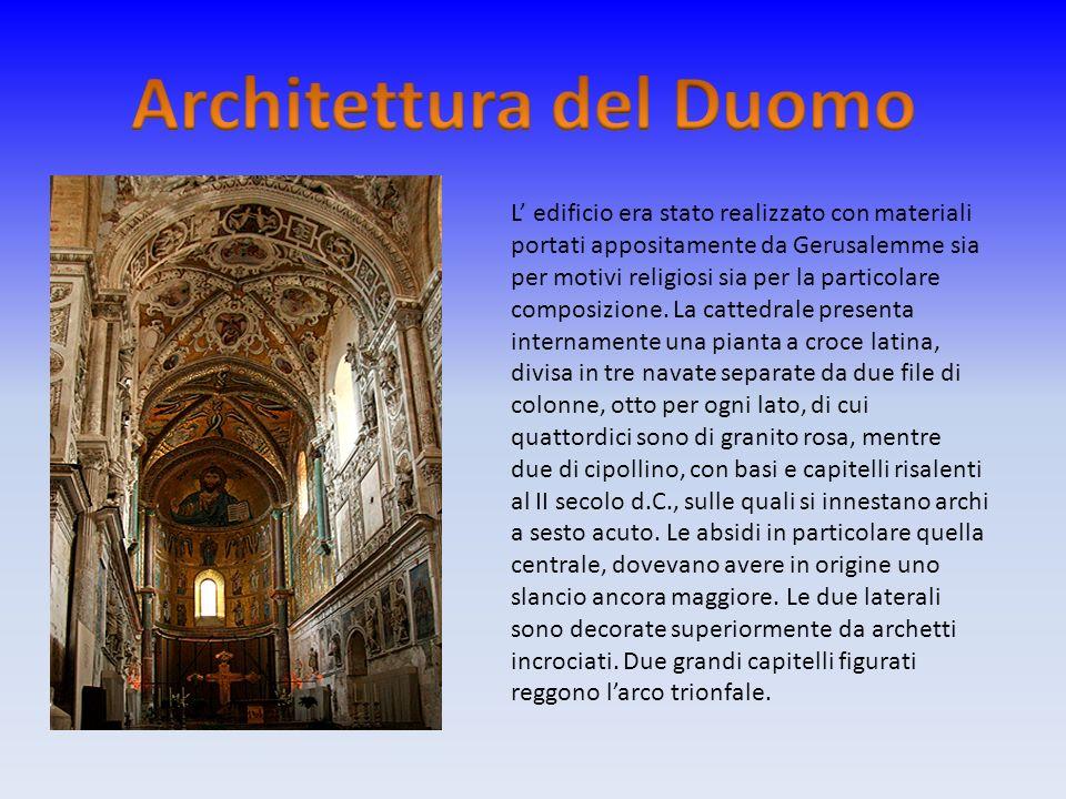 L edificio era stato realizzato con materiali portati appositamente da Gerusalemme sia per motivi religiosi sia per la particolare composizione. La ca