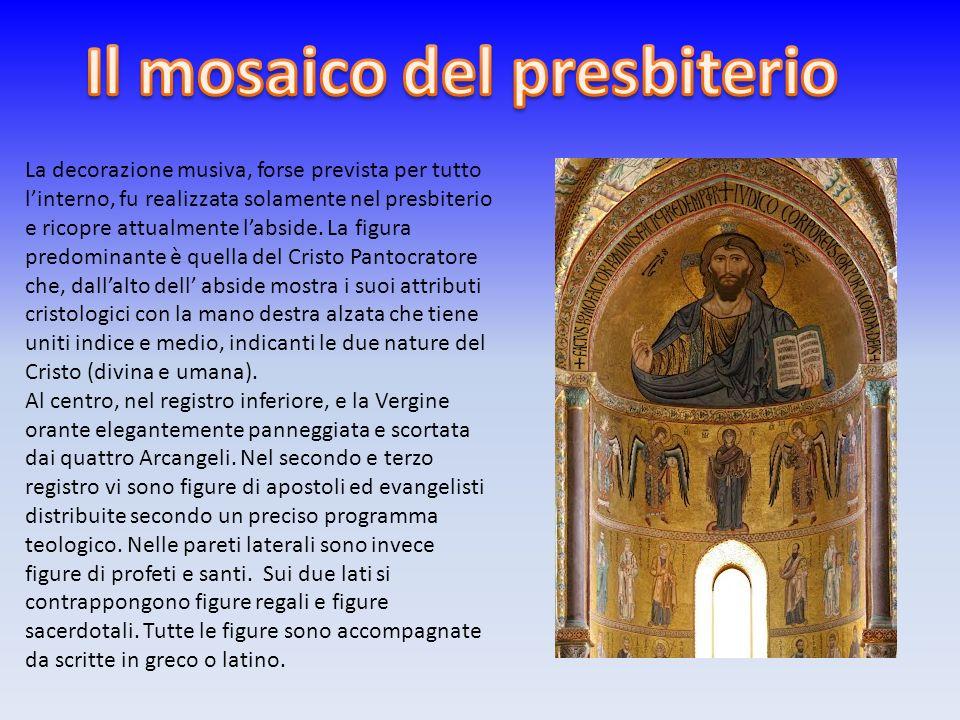 La decorazione musiva, forse prevista per tutto linterno, fu realizzata solamente nel presbiterio e ricopre attualmente labside. La figura predominant
