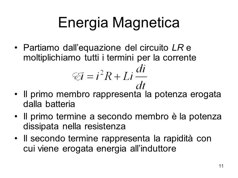 Energia Magnetica Partiamo dallequazione del circuito LR e moltiplichiamo tutti i termini per la corrente Il primo membro rappresenta la potenza eroga