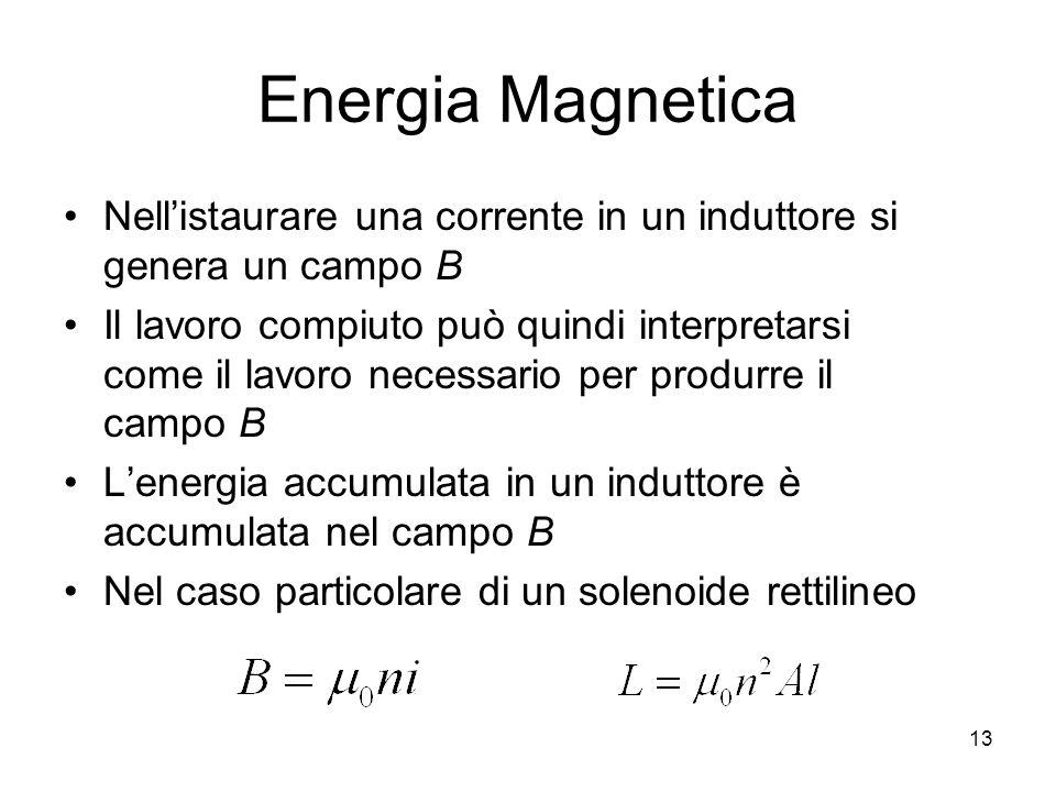 Energia Magnetica Nellistaurare una corrente in un induttore si genera un campo B Il lavoro compiuto può quindi interpretarsi come il lavoro necessari