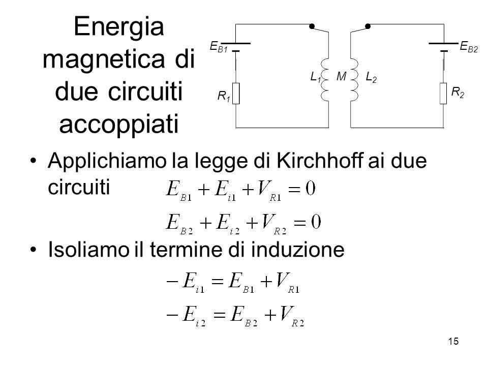 Energia magnetica di due circuiti accoppiati Applichiamo la legge di Kirchhoff ai due circuiti Isoliamo il termine di induzione M R1R1 E B1 L1L1 R2R2