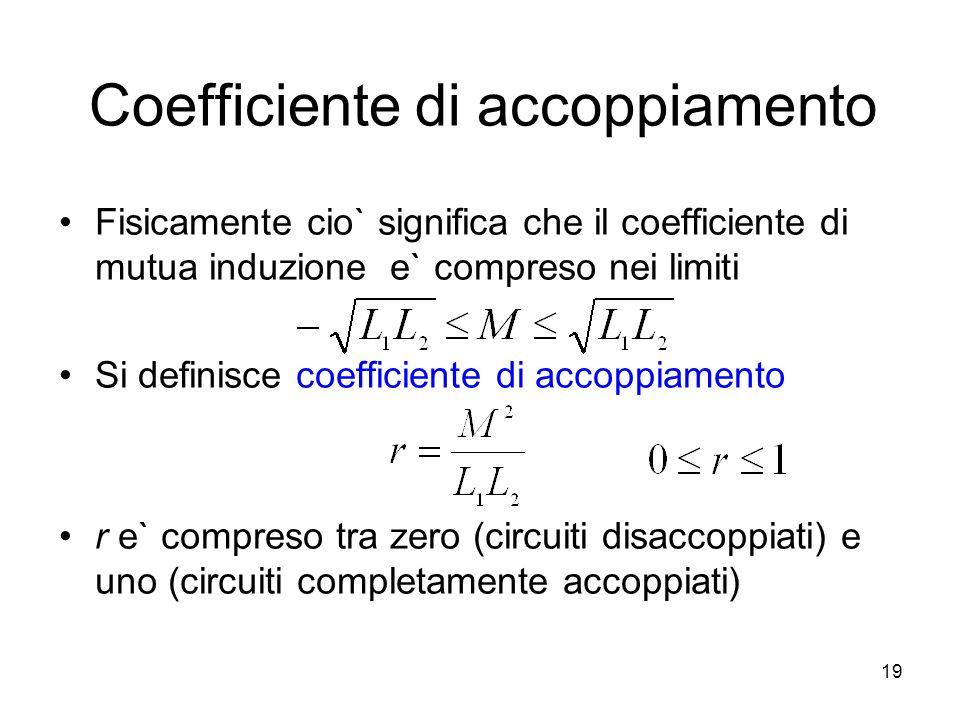 Coefficiente di accoppiamento Fisicamente cio` significa che il coefficiente di mutua induzione e` compreso nei limiti Si definisce coefficiente di ac