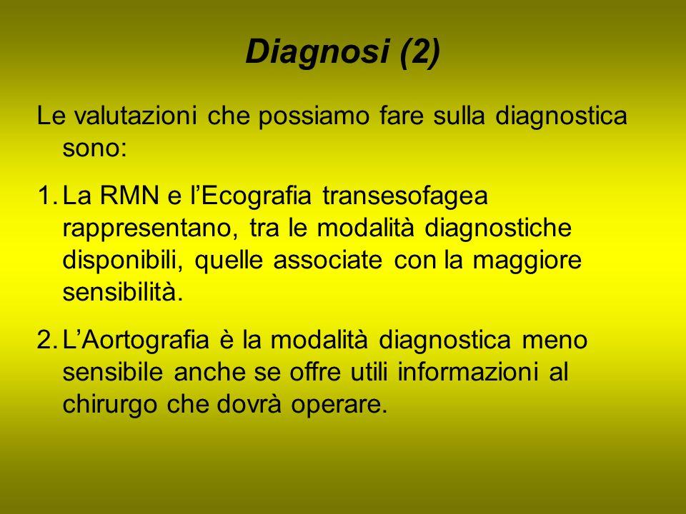 Diagnosi (2) Le valutazioni che possiamo fare sulla diagnostica sono: 1.La RMN e lEcografia transesofagea rappresentano, tra le modalità diagnostiche
