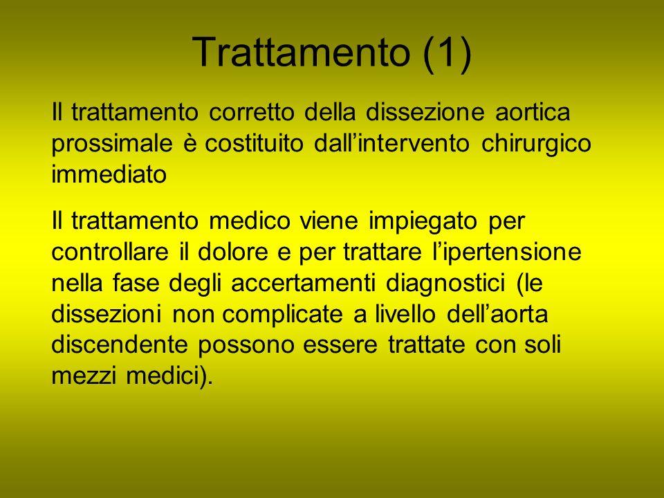 Trattamento (1) Il trattamento corretto della dissezione aortica prossimale è costituito dallintervento chirurgico immediato Il trattamento medico vie