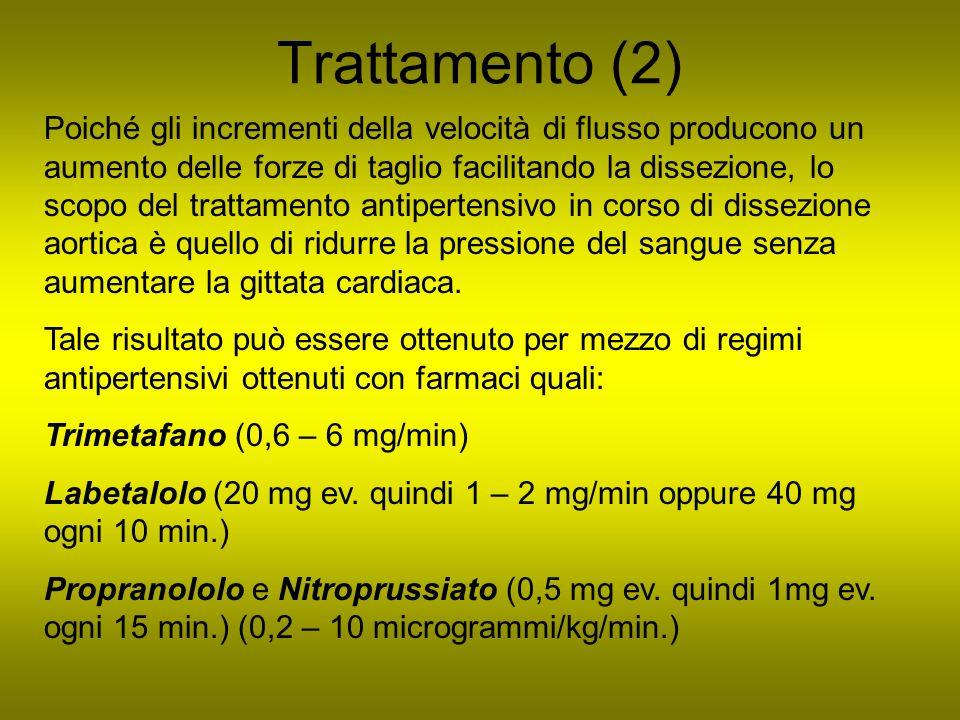 Trattamento (2) Poiché gli incrementi della velocità di flusso producono un aumento delle forze di taglio facilitando la dissezione, lo scopo del trat