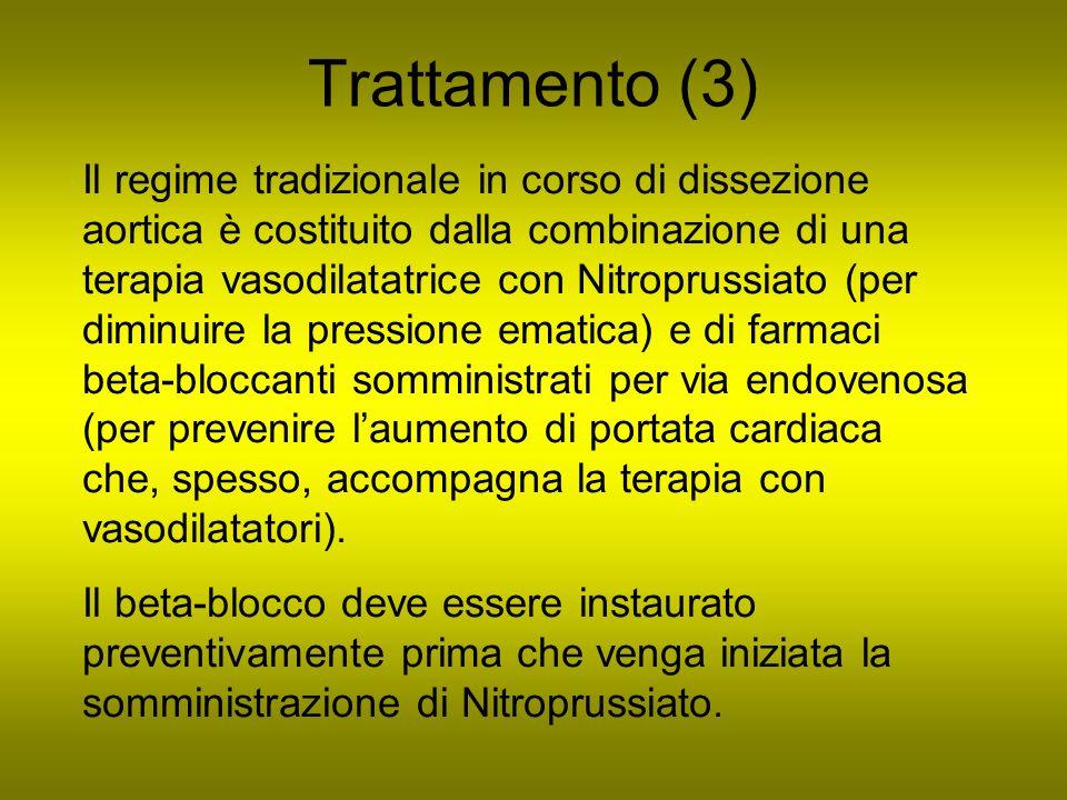 Trattamento (3) Il regime tradizionale in corso di dissezione aortica è costituito dalla combinazione di una terapia vasodilatatrice con Nitroprussiat