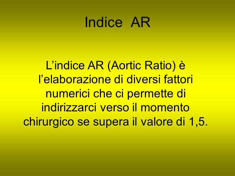 Indice AR Lindice AR (Aortic Ratio) è lelaborazione di diversi fattori numerici che ci permette di indirizzarci verso il momento chirurgico se supera