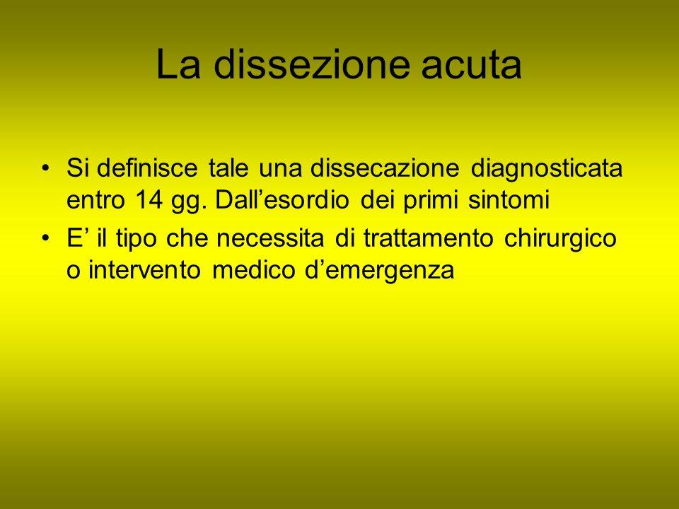 La dissezione acuta Si definisce tale una dissecazione diagnosticata entro 14 gg. Dallesordio dei primi sintomi E il tipo che necessita di trattamento