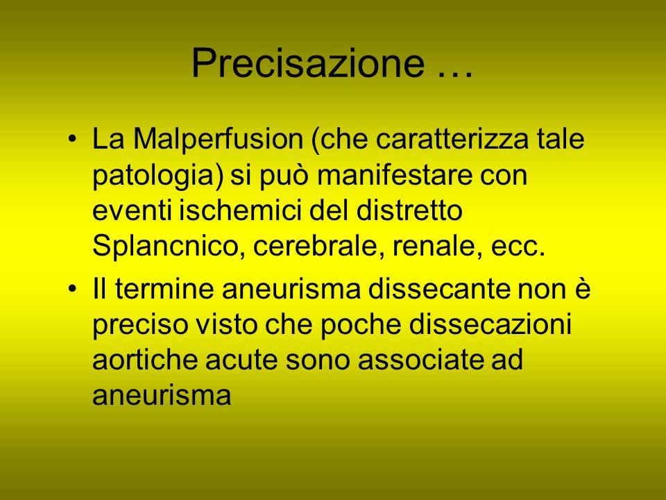 Precisazione … La Malperfusion (che caratterizza tale patologia) si può manifestare con eventi ischemici del distretto Splancnico, cerebrale, renale,