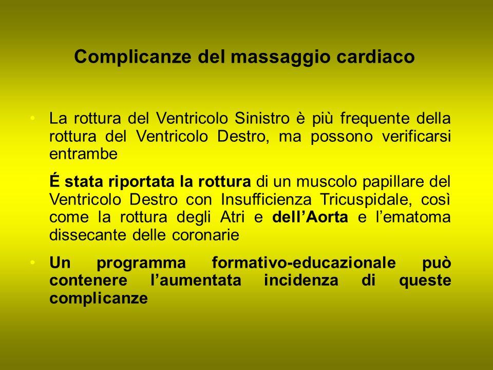 Complicanze del massaggio cardiaco La rottura del Ventricolo Sinistro è più frequente della rottura del Ventricolo Destro, ma possono verificarsi entr