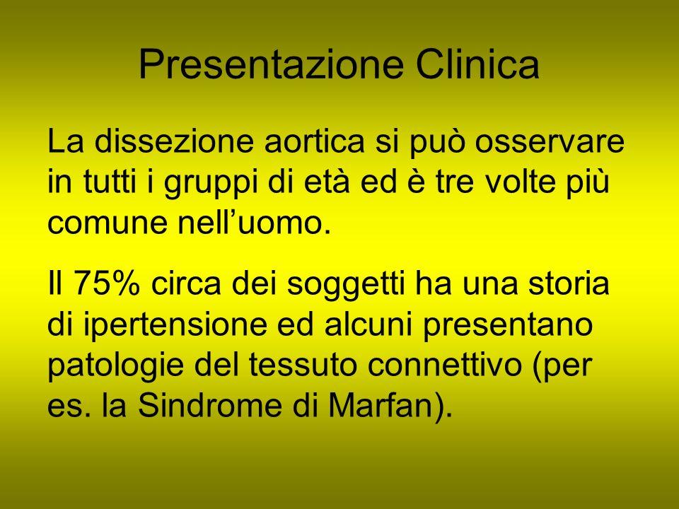 Presentazione Clinica La dissezione aortica si può osservare in tutti i gruppi di età ed è tre volte più comune nelluomo. Il 75% circa dei soggetti ha