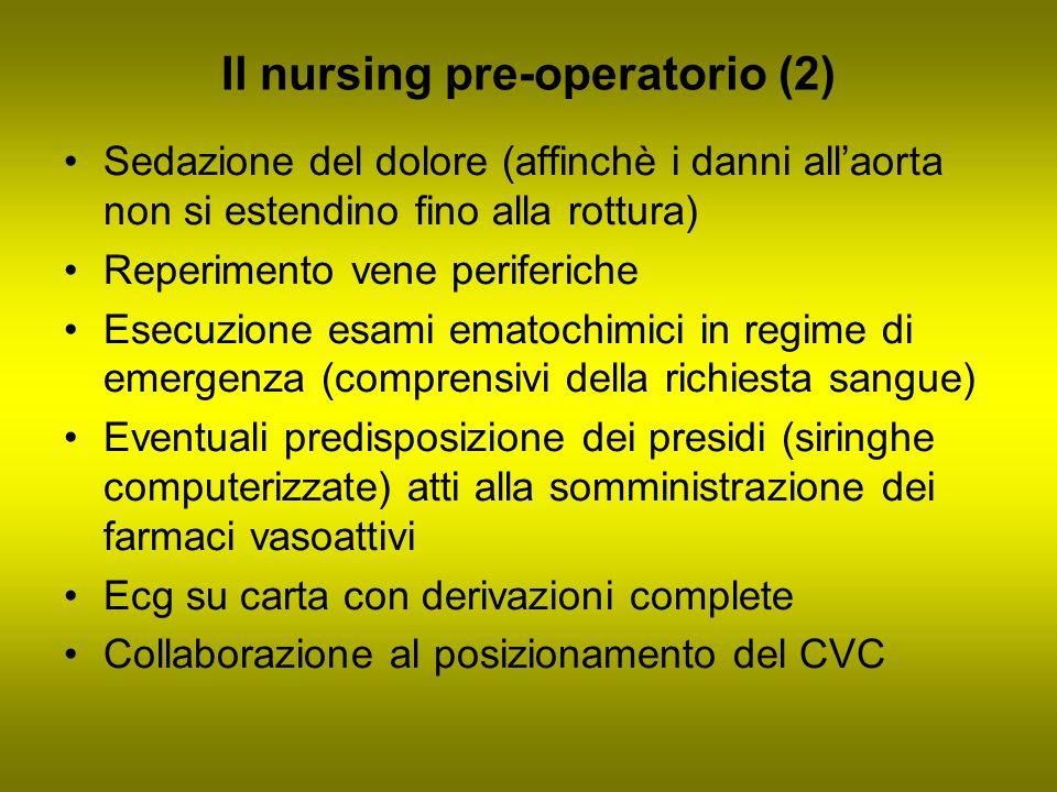 Il nursing pre-operatorio (2) Sedazione del dolore (affinchè i danni allaorta non si estendino fino alla rottura) Reperimento vene periferiche Esecuzi