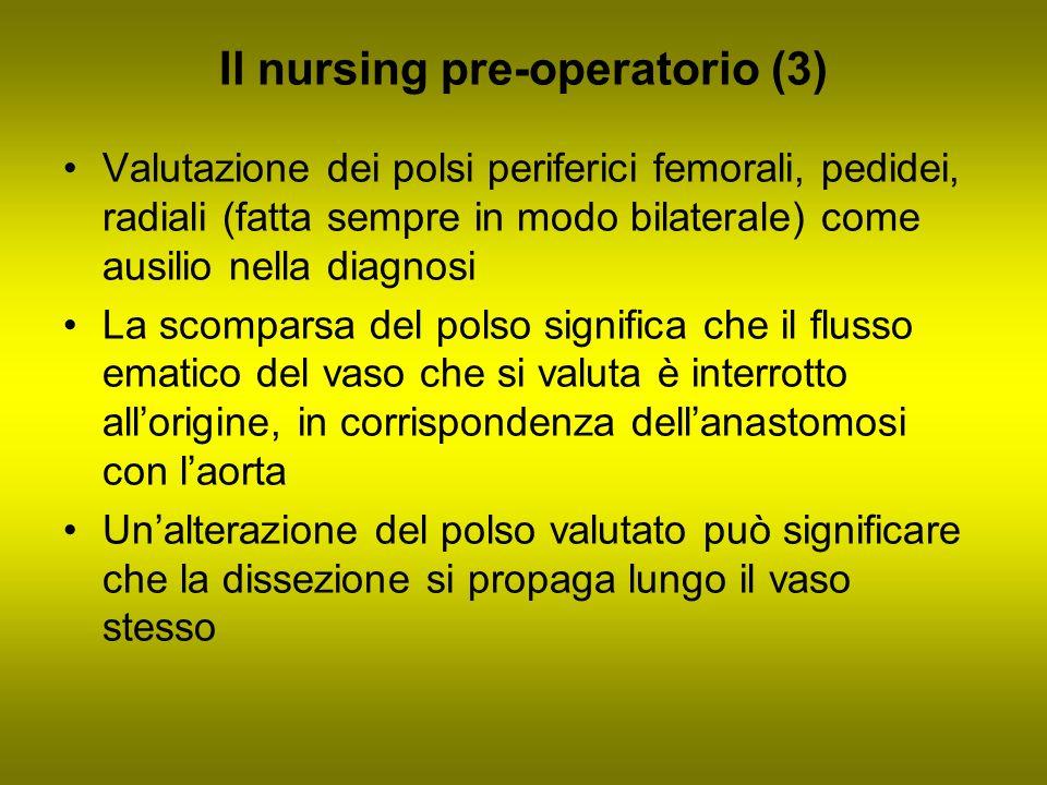 Il nursing pre-operatorio (3) Valutazione dei polsi periferici femorali, pedidei, radiali (fatta sempre in modo bilaterale) come ausilio nella diagnos