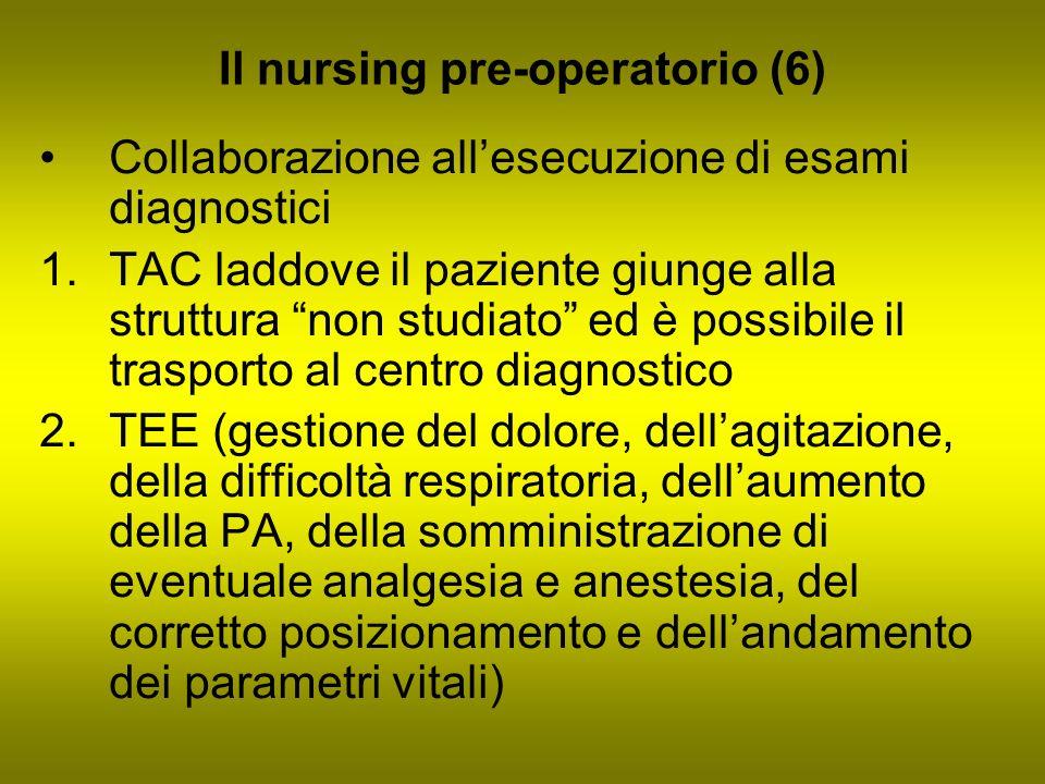 Il nursing pre-operatorio (6) Collaborazione allesecuzione di esami diagnostici 1.TAC laddove il paziente giunge alla struttura non studiato ed è poss