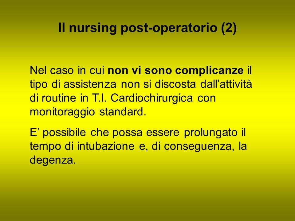 Il nursing post-operatorio (2) Nel caso in cui non vi sono complicanze il tipo di assistenza non si discosta dallattività di routine in T.I. Cardiochi