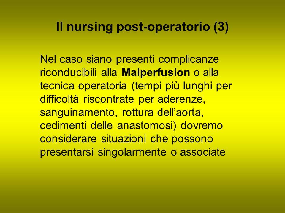 Il nursing post-operatorio (3) Nel caso siano presenti complicanze riconducibili alla Malperfusion o alla tecnica operatoria (tempi più lunghi per dif