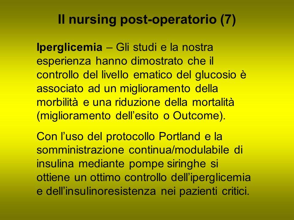 Il nursing post-operatorio (7) Iperglicemia – Gli studi e la nostra esperienza hanno dimostrato che il controllo del livello ematico del glucosio è as
