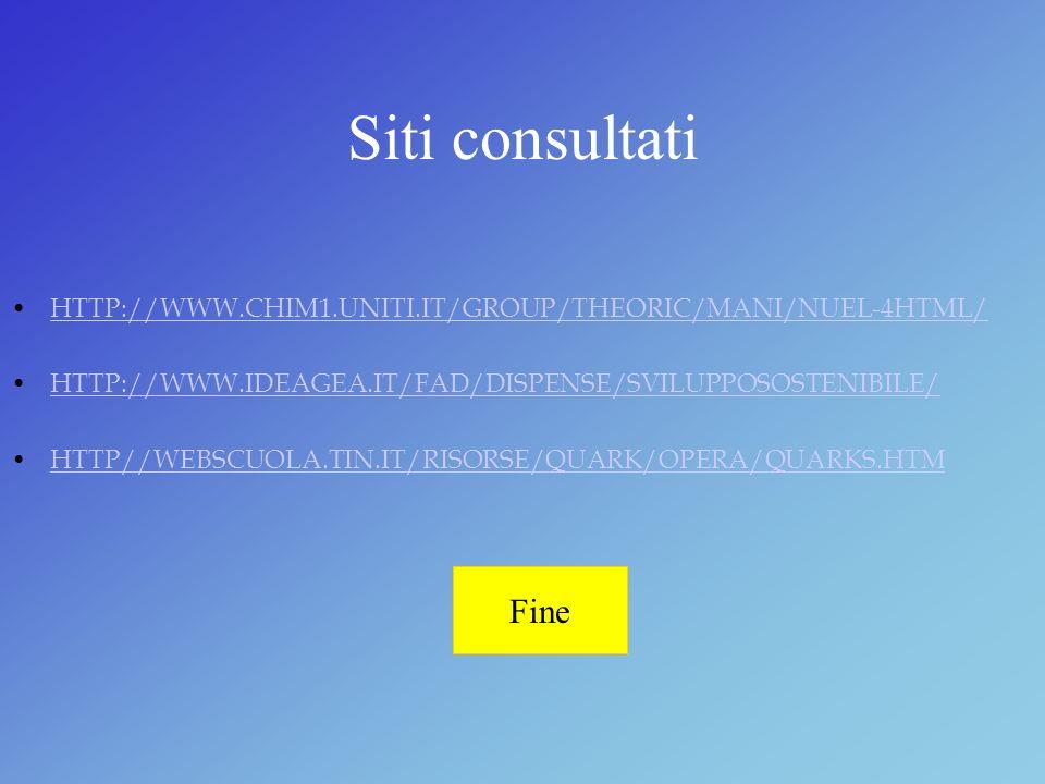 Siti consultati HTTP://WWW.CHIM1.UNITI.IT/GROUP/THEORIC/MANI/NUEL-4HTML/ HTTP://WWW.IDEAGEA.IT/FAD/DISPENSE/SVILUPPOSOSTENIBILE/ HTTP//WEBSCUOLA.TIN.I
