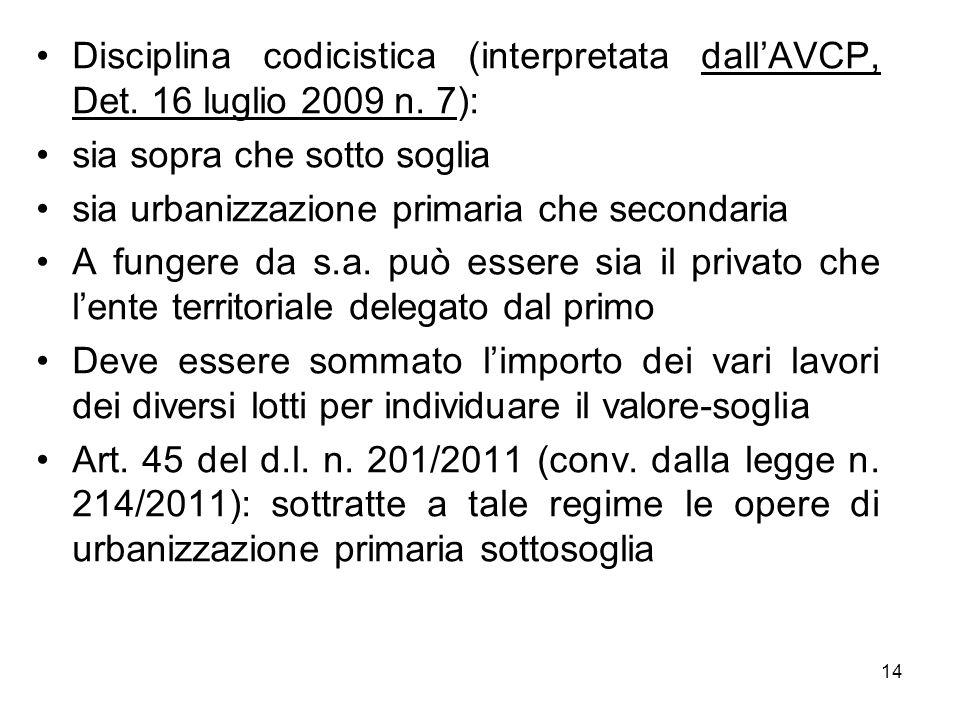 Disciplina codicistica (interpretata dallAVCP, Det. 16 luglio 2009 n. 7): sia sopra che sotto soglia sia urbanizzazione primaria che secondaria A fung