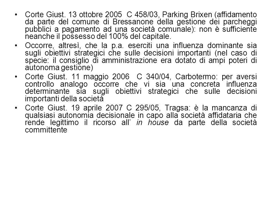 Corte Giust. 13 ottobre 2005 C 458/03, Parking Brixen (affidamento da parte del comune di Bressanone della gestione dei parcheggi pubblici a pagamento