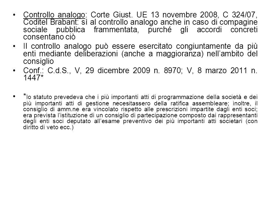 Controllo analogo: Corte Giust. UE 13 novembre 2008, C 324/07, Coditel Brabant: sì al controllo analogo anche in caso di compagine sociale pubblica fr