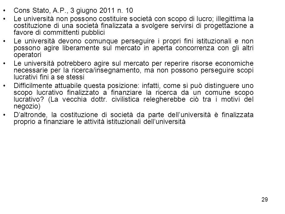 29 Cons Stato, A.P., 3 giugno 2011 n. 10 Le università non possono costituire società con scopo di lucro; illegittima la costituzione di una società f