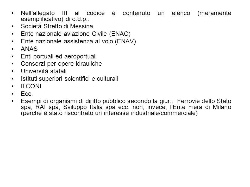Nellallegato III al codice è contenuto un elenco (meramente esemplificativo) di o.d.p.: Società Stretto di Messina Ente nazionale aviazione Civile (EN
