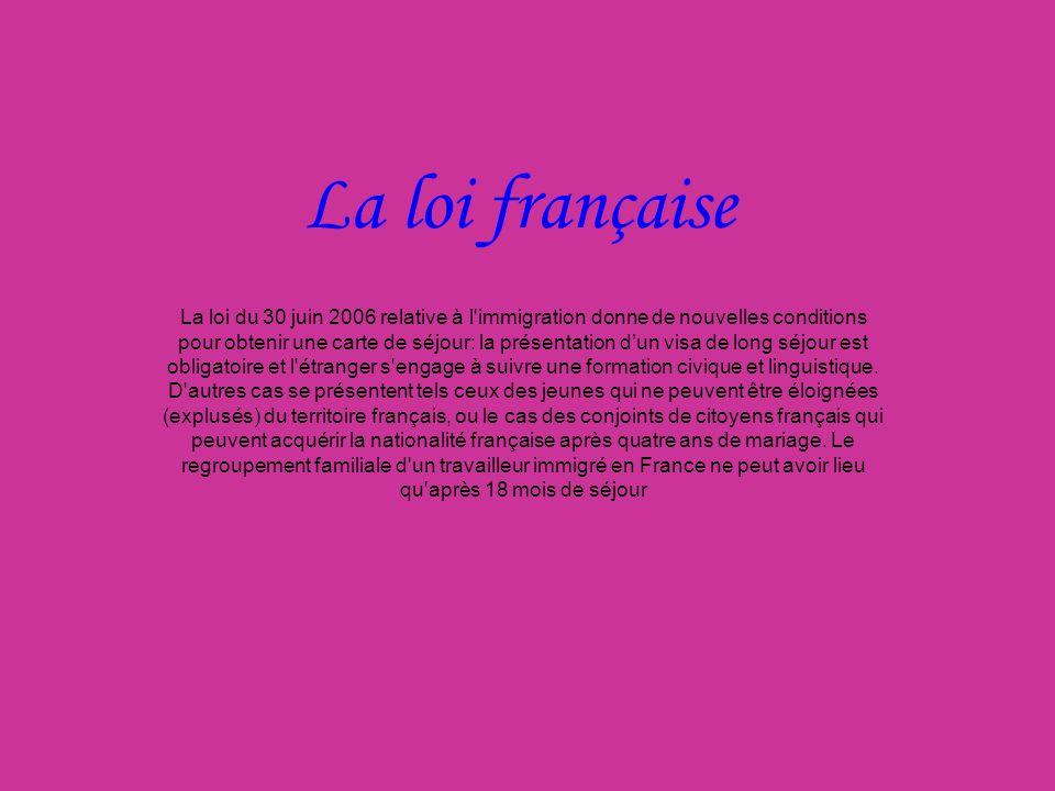 La loi française La loi du 30 juin 2006 relative à l'immigration donne de nouvelles conditions pour obtenir une carte de séjour: la présentation dun v