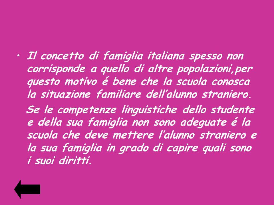 Il concetto di famiglia italiana spesso non corrisponde a quello di altre popolazioni,per questo motivo é bene che la scuola conosca la situazione fam